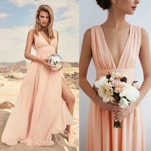 Heavenly Hues Blush Medium LuLus Maxi Dress NWT